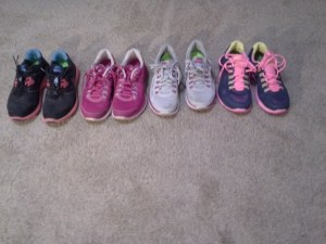 My Nike Lunarglides (left to right: oldest to newest)