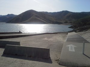 Boat ramp we get to run up to get to transition at Lucky Peak Reservoir.