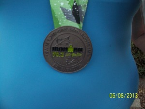 The beautiful finishers medal that I display proudly!