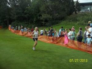 Running through the finishers chute!
