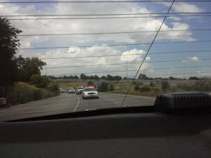 This is the picture from the backseat of the police car.